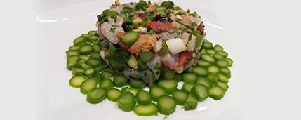 חיים סלומון שף פרטי - מנת טרטר דג עם עלים ירוקים
